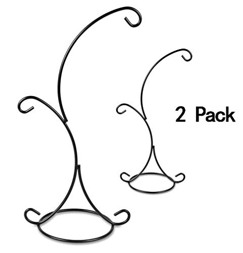 Ornament Display Stand,Iron Hanging Heart Shaped Stand Rack Holder Iron Pothook Stand Hanging Glass Globe Air Plant Terrarium Witch Ball Home Wedding Decoration (Black)