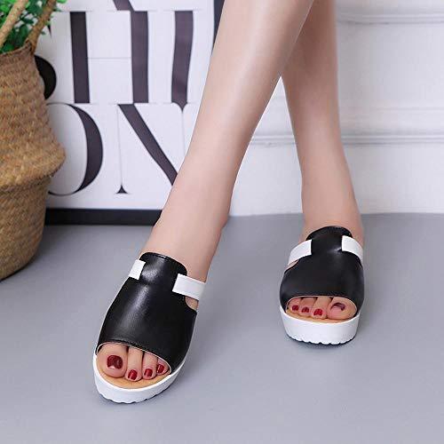 Chancletas Sandalias De Gruesos Y Wedges Negro Slip Plataformas Zapatillas On Zapatos Libre Casual Plataforma Plana Aire Al Logobeing wqECIdw