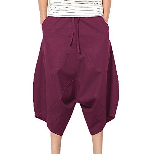 iYYVV Men's Casual Slim Sports Elastic Pant Calf-Length Linen Shorts Baggy Harem ()