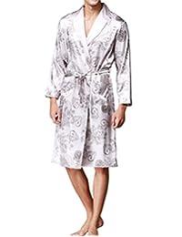 Haseil Men's Satin Robe Dragon Chinese Silk Spa Long Sleeve House Kimono Bathrobe