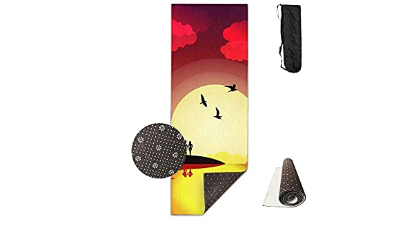 Amazon.com : SARA NELL Yoga Mat Hawaii Scenery Hawaiian Pattern Design Printed Hot Yoga Mat With Carry Strap And Carry Bag Extra Large Non-Slip Exercise Mat ...