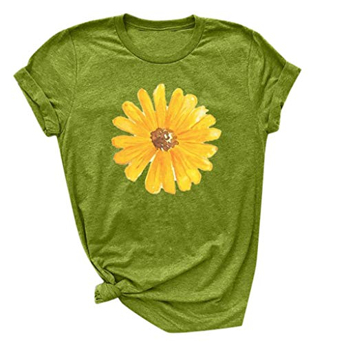 (Respctful ♫♫Sunflower Tops Clothes for Women Floral prin Graphic Print Short Sleeve Casual Tees Tops Green)