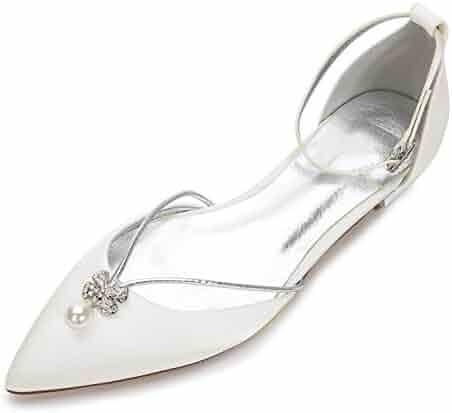 26c971f6777 MarHermoso Womens Ankle Strap Pointed Toe Elegant Wedding Ballerinas