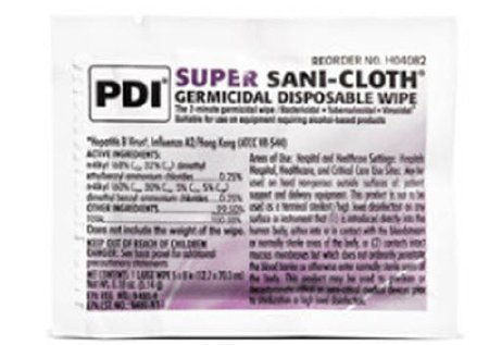 PDI Super Sani-Cloth Germicidal Disposable Wipes, Large - 5 x 8 Inch, H04082 (Case of 500) by Professional Disposables International (Image #1)