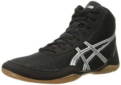 ASICS Men's Matflex 5 Wrestling Shoe, Black/Silver, 6.5 M US