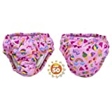 SwimSchool Reusable Girl Swim Diaper UPF 50 Level, Pink, 6m