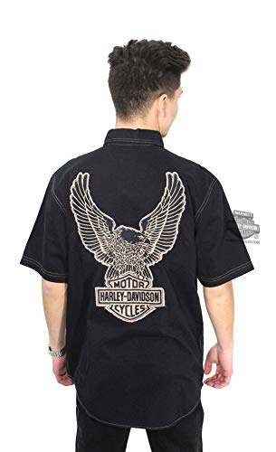 Harley-Davidson Mens Genuine Classics Eagle B&S Washed Black Woven Shirt 99002-14VM (2X) ()