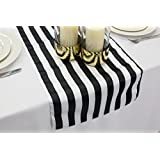 "L'Amour Satin Wedding Table Runner 14"" x 108"" (Black and White Stripe)"