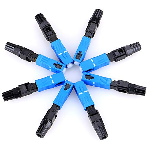100 pcs SC Fiber Optical Quick Connector UPC Fast Connector Single Mode FTTH Fiber Cold Connection Telecom Level Fast Connector
