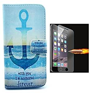 HaleyL-The Ship Anchor Oattern PU Leather Full Body Case with Explosion-Proof Glass Film for iPhone 6