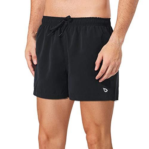 Baleaf Mens Quick Dry Swim Trunks Board Shorts Mesh Lining with Pockets Black M
