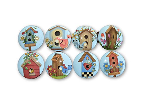 Set of 8 Spring Birdhouses Wood Cabinet Knobs ()