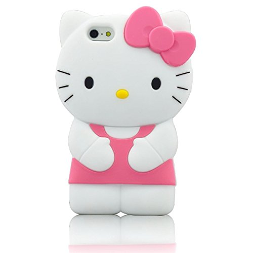 iPhone 6 Plus Case iPhone 6S Plus Silicone Case,Emily Fashion Super Cute 3D Cartoon Character Pink Standing Kitty Cat Protective Silicone Back Case Cover for iPhone 6/6S Plus 5.5 (Cartoons Characters)