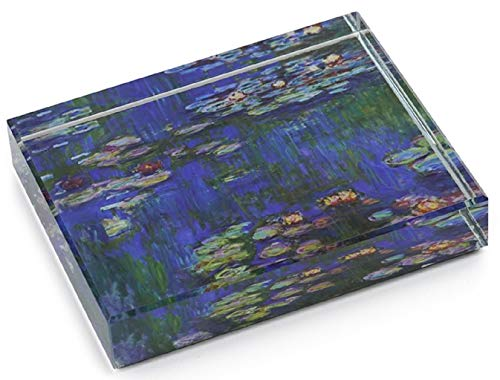 (Dynasty Gallery Deskpop Handcut Crystal Paperweight with Felt Bottom Monet Water Lilies 51105WL 4 Inches x 2.6 Inches )