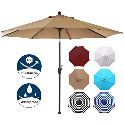 9 Market Base Umbrella (Blissun 9' Outdoor Market Patio Umbrella with Push Button Tilt and Crank, 8 Ribs (Tan))
