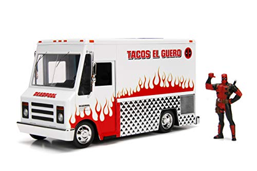 Marvel Deadpool & Taco Truck Die-cast Car, 1:24 Scale Vehicle, 2.75Collectible Figurine -