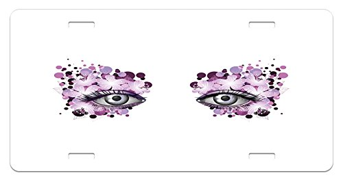 Eyelash License Plate by Ambesonne, Fantasy Look with Abstract Floral Makeup Design Dots Violet Summer Blossoms, High Gloss Aluminum Novelty Plate, 5.88 L X 11.88 W Inches, Violet Lilac Grey -