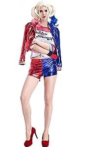 Inception Pro Infinite (Talla S) Disfraz Completo - Chaqueta - Jersey - Pantalones Cortos - Guante - Harley Quinn - Mujer - Chica - Carnaval - Halloween - Cosplay - Suicide Squad - Film Gift Idea.