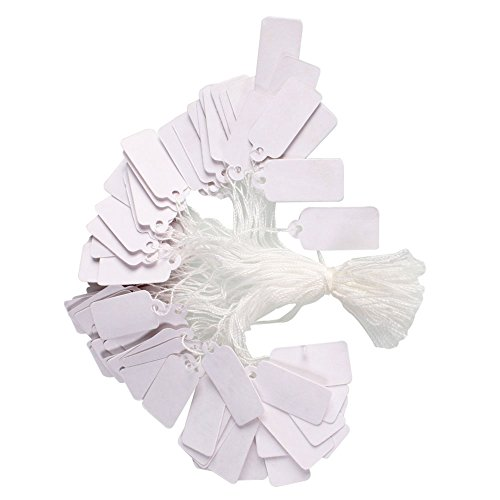 100 Pcs Price Label Tags with Hanging String for Jewelry Display 23 x 13mm White