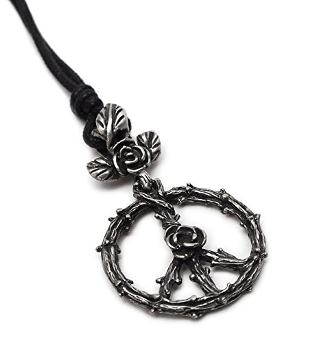 Peace Sign Rose Flower Silver Pewter Charm Necklace Pendant Jewelry ()