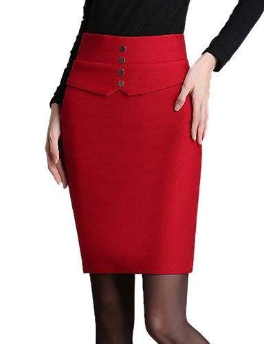 Mujer Tallas Grandes Faldas Un ColorAdorable Sobre la Rodilla Algodón / Poliéster / Nailon Micro-elástica Otoño , 2xl