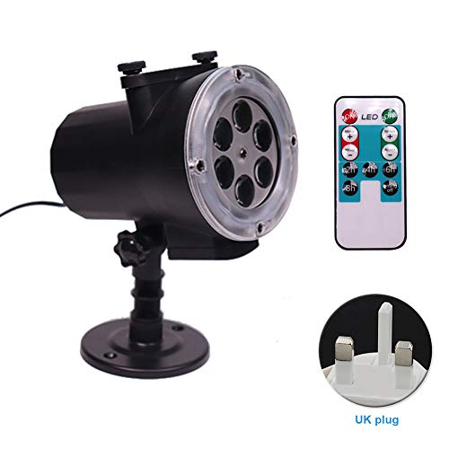 Projection Light, Garden Lawn Film Play Practical Lamp for Christmas/Halloween/Thanksgiving Day Projection Light Home Use Waterproof Lantern(UK Plug with remote controller) -