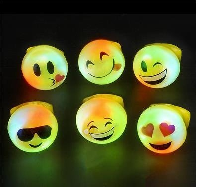 Flashing LED Emoticon Rings 24 Pack Light Up Emoji Ring 2 Dozen