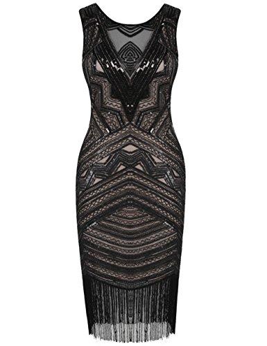 Beige Kayamiya Schwarz Jahre Flapper Gatsby Kleid 1920er Pailletten Damen Kleid Perlen Cocktail SSxOqwP