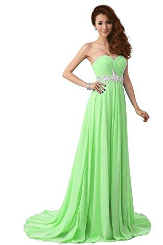 Hochzeit hellgrün Emily Beauty Zug Größe trägerlosen 38 Kleid Strass Damen Kapelle BwYYd8q