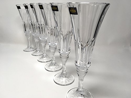 White Classic Wine Vintage (BOHEMIAN CRYSTAL GLASS CHAMPAGNE FLUTES 6 oz. / 180 ml. SET OF 6 CUT CRYSTAL GLASS CHAMPAGNE WHITE WINE STEM GOBLETS ELEGANT VINTAGE EUROPEAN DESIGN CLASSIC CZECH CRYSTAL GLASS)