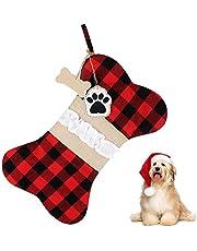 Christmas Pet Stockings Dog Xmas Stockings Plaid Bone Shape Personalised Hanging Christmas Stocking Candy Treat Bag for Christmas Decorations Gift