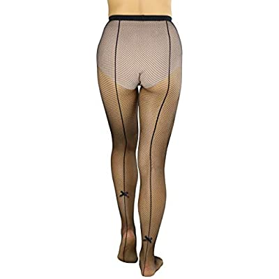 ToBeInstyle Women's Sexy Unique Back Seam with Bow Tie Fishnet Tights at  Women's Clothing store