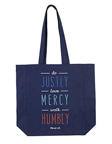 Womens Do Justly, Love Mercy, Walk Humbly Canvas Tote Bag, 13 (Catholic Tote Bag)