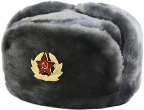 Authentic Soviet and Russian Marines Black Army Hat Ushanka New Sheepskin Fur