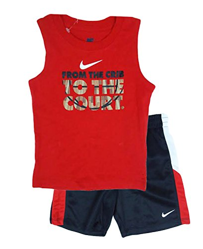 Nike Kids From The Crib To Court Short Sleeve Shorts Set (24 Months, Red)