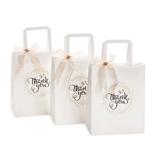 - Gift Bags Bulk with Lovely Thank-You Print, Premium White Kraft Paper Bags with Flat Handles for Gifts, Goodies, Wedding, Retail Shopping Merchandise, Party, Fair | Set of 50 pcs, Medium 8x4.75x10 in