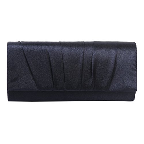 Damara Womens Satin Pleated Clutch Bag Wedding Bridal Prom Evening Handbag,Navy Blue