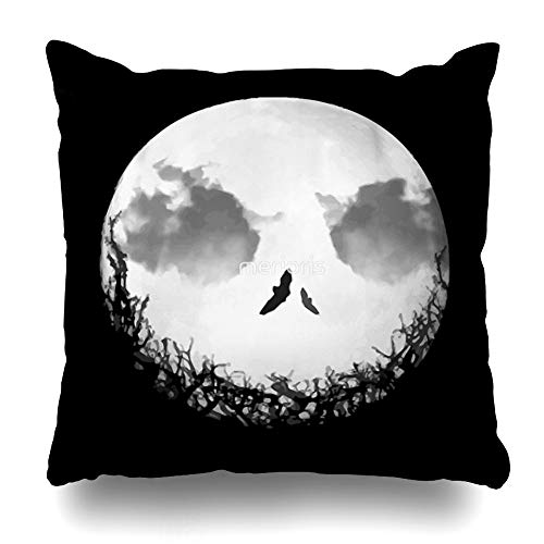 Ahawoso Throw Pillow Cover Square 18x18 Inches The Nightmare Before Christmas Jack Skellington Decorative Pillow Case Home Decor Pillowcase ()