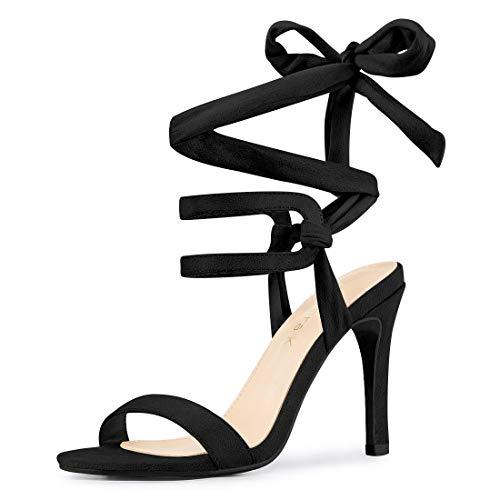 Allegra K Women's Stiletto High Heel Lace Up Black Sandals - 5 M US