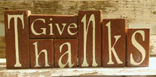 Give Thanks Brown Wood Glitter Blocks Thanksgiving Decoration (Thanks Give Blocks)
