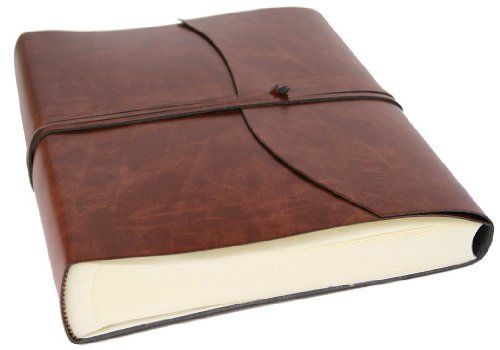 Romano Large Chestnut Recycled Leather Wrap Photo Album (30cm x 24cm) by LEATHERKIND