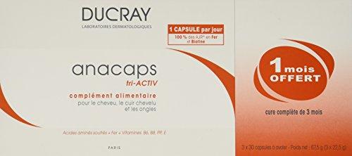 CREME Ducray Tri-activ Capsules Anti perte de cheveux traitement pour les cheveux rapide croissance 3x30caps - 3 mois d'approvisionnement