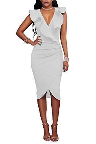 Minetom Mujer Verano Bodycon Vestido Ruffle Atractivo Profundo Cuello en V Dress de Fiesta Clubwear Midi Vestidos Blanco