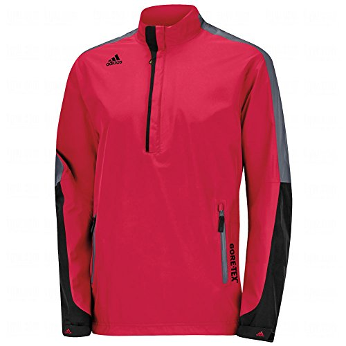 adidas Golf Men's Gore - Tex 2-Layer 1/2 Zip Jacket, Bold Red/Black/Onyx, Small ()