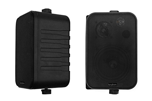 Bluetooth Wireless V4.1 Indoor/Outdoor Speakers Waterproof/Outside Patio Speakers (Black-Pair) by Krohm