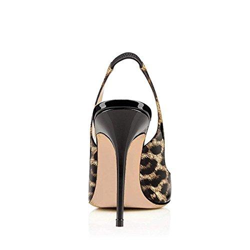 Slingback Vestito Ambra Donne Leopardo Pattini Tallone Leopardo Pompe Dello Stiletto Di Ydn xzwHq00Un