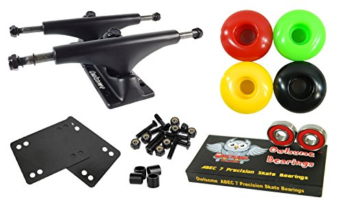 (Owlsome 5.25 Black Aluminum Skateboard Trucks w/52mm Wheels Combo Set (Rasta))