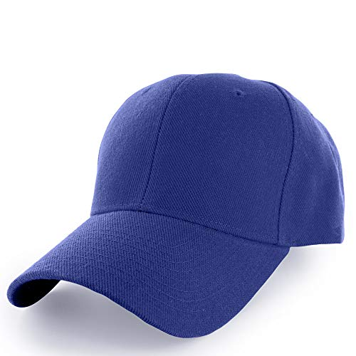 KANGORA Plain Baseball Cap Adjustable Men Women Unisex | Classic 6-Panel Hat | Outdoor Sports Wear (20+Colors) (Blue)
