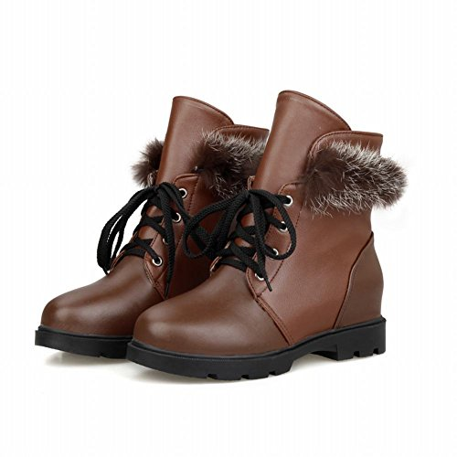Latasa Kvinna Mode Spets-up Fuskpäls Dekorerad Chunky Klack Inuti Kilklack Boots Brun