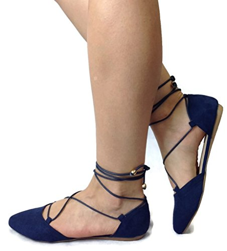 Spirit+Moda+Nina+Women%27s+Strappy+Lace+Up+Ballet+Flats+D%27Orsay+Ankle+Tie%2C+Navy+New%2C+8